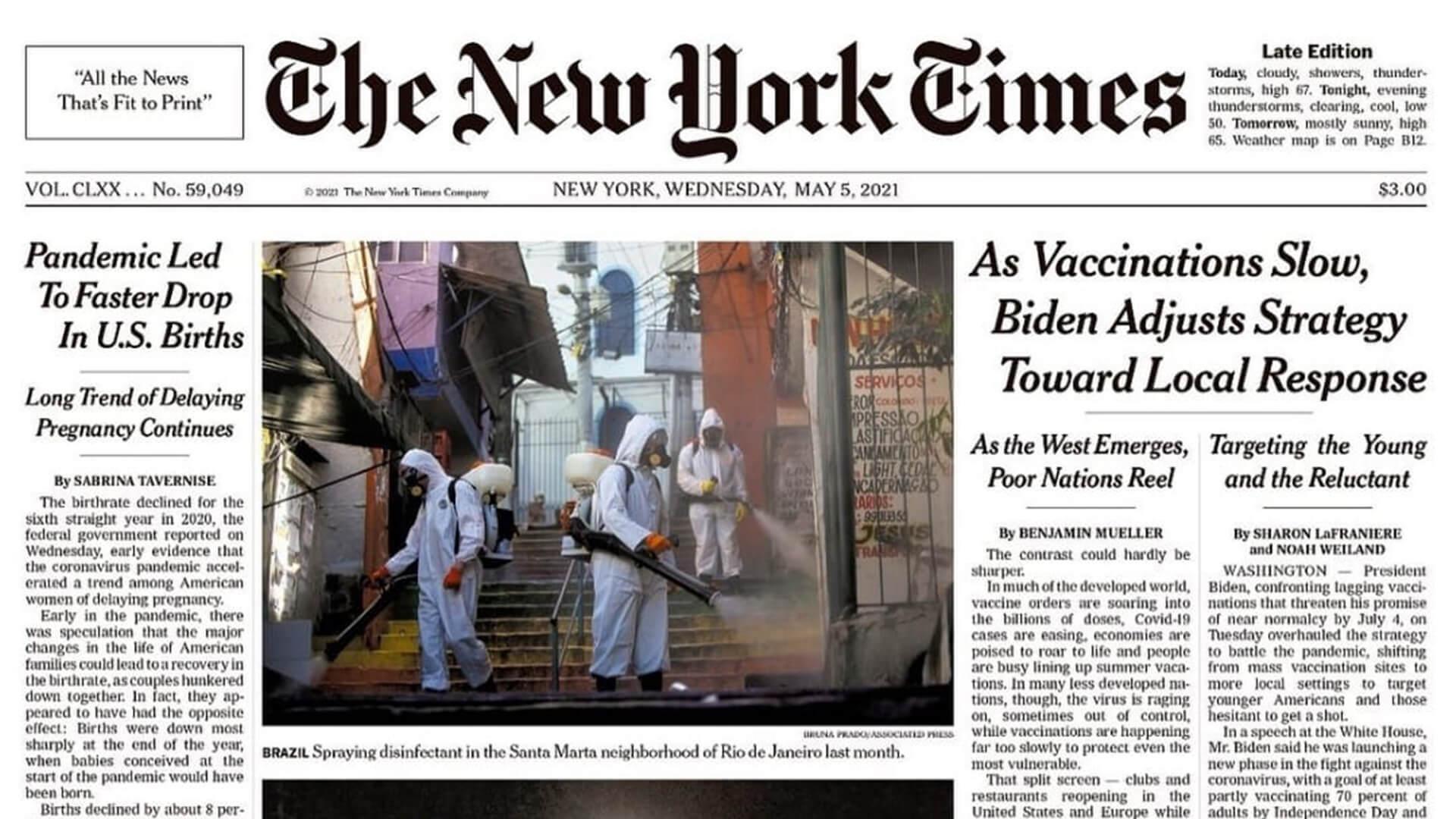 Capa do New York Times com matéria sobre o Santa Marta